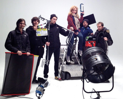 An Agile Films crew poses on the Moviola